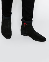 Asos Chelsea Boots In Black Suede With Red Elastic