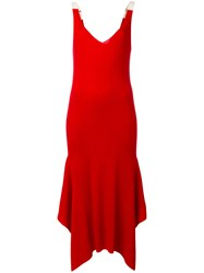Alexander Wang T By Handkerchief Hem Dress Women Cotton Merino M Red