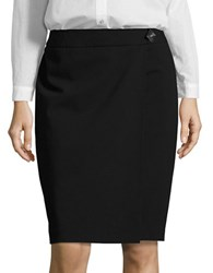 Karl Lagerfeld Asymmetrical Mock Wrap Pencil Skirt Noir