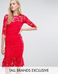 Paper Dolls Tall All Over Lace Dress With Peplum Hem Detail Red