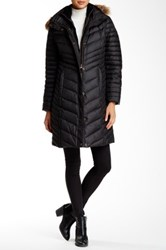 Andrew Marc New York Kendell Genuine Coyote Fur Trimmed Quilted Jacket Black