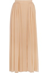 Delpozo Pleated Silk Blend Chiffon Maxi Skirt Nude