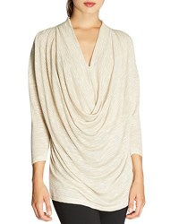 Bobeau Shimmer Knit Cowl Front Top Gold