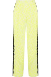 Christopher Kane Lace Trimmed Printed Stretch Crepe Wide Leg Pants Yellow