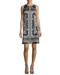 Nanette Lepore Sleeveless Silk Lace Print Mini Dress Black White