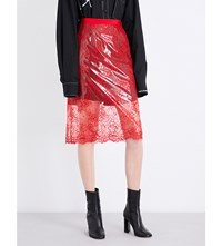 Maison Martin Margiela Lacquered High Rise Lace Skirt Flare Red