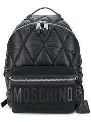 Moschino Large Quilted Logo Backpack Black