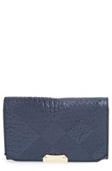 Women's Burberry 'Wellington' Leather French Wallet Blue Navy