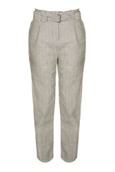 Topshop Belted Peg Leg Trousers Grey