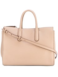 Max Mara Double Handles Tote Calf Leather Cotton Nude Neutrals