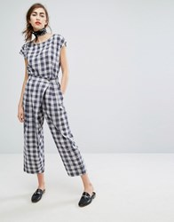 People Tree Hand Woven Wrap Front Trousers In Picnic Check Co Ord Multi