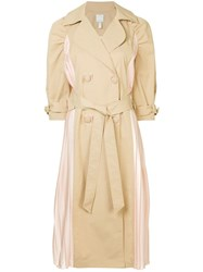 Huishan Zhang Pleated Panel Trench Coat Brown