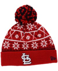 New Era St. Louis Cardinals Sweater Chill Pom Knit Hat Red White Black