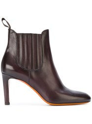 Santoni Heeled Chelsea Boots Women Leather Rubber 38.5 Brown