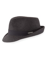 Crown Cap Felt Fedora With Grosgrain Trim Gray