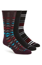 Smartwool Trio 3 Pack Socks Charcoal Heather Tibetan Red