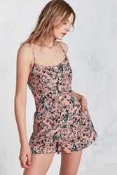 Kimchi And Blue Butterfly Print Button Front Slip Romper Peach