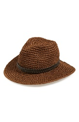 Sole Society Woven Wide Brim Straw Hat Brown