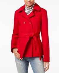 Celebrity Pink Double Breasted Hooded Peacoat Cherry Red