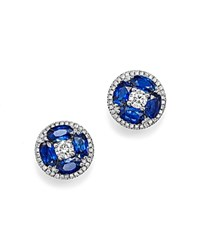 Bloomingdale's Sapphire And Diamond Stud Earrings In 14K White Gold Blue White