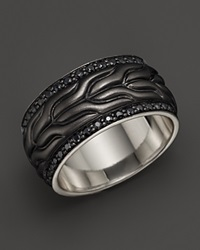 John Hardy Men's Classic Chain Silver Lava Black Bronze Coating Ring With Black Sapphire
