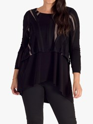 Chesca Abstract Burnout Layered Jersey Top Black Taupe