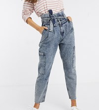 Reclaimed Vintage Inspired Balloon Tapered Jean In Acid Wash Blue