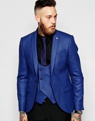 Noose And Monkey Woven In England Wool Blazer In Skinny Fit Blue