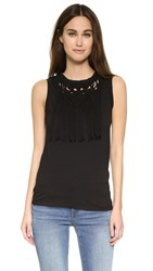 Pam And Gela Front Fringe Tank Black