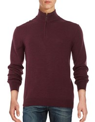 Black Brown Merino Wool Quarter Zip Sweater Plum Heather