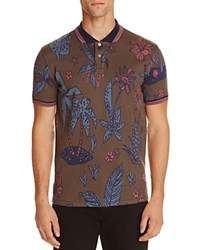 Paul Smith Ps Floral Slim Fit Polo Shirt Khaki