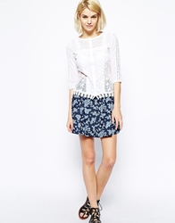 Mango Floral Print Denim Skirt Darkdenim