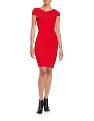 Belle By Badgley Mischka Asymmetrical Sheath Dress Red Orange