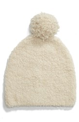 Vince Teddy Wool And Cashmere Blend Pom Beanie Ivory Sandalwood