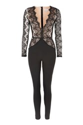 Rare Long Sleeve Lace Plunge Jumpsuit By Black