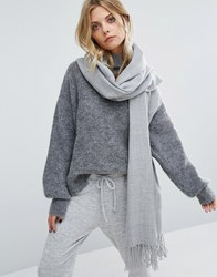 Pieces Woven Herringbone Scarf With Tassels In Light Grey Light Grey Melange