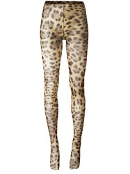 Dolce And Gabbana Leopard Print Tights Nude Neutrals