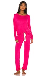 Eberjey Ina Slouchy Set In Pink. Fuchsia