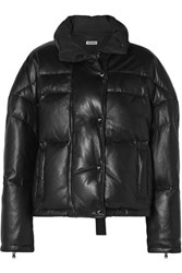 Jason Wu Cropped Quilted Leather Down Jacket Black