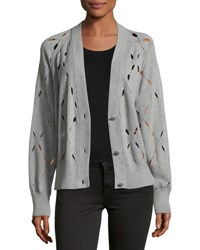 Alexander Wang Argyle Stitch Cutout Cardigan Sweater Gray