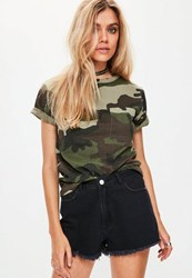 Missguided Petite Exclusive Khaki Camo T Shirt