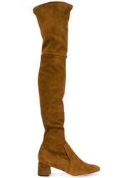 Parallele Knee High Boots Leather Calf Suede Brown