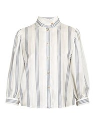 Loewe High Neck Striped Poplin Blouse Navy Multi