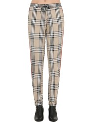 Andrea Crews Checked Track Pants Beige