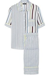 Dkny Easy Does It Striped Crepe De Chine Pajama Set Blue