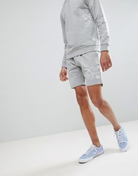 Only And Sons Jersey Shorts With All Over Print Medium Grey Melange