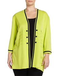 Ming Wang Plus Long Striped Trim 3 4 Sleeve Jacket Lime Green Black