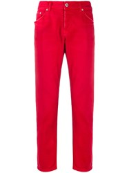 Dondup Low Rise Straight Leg Jeans Red