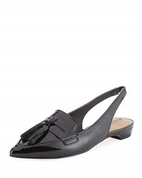 Elie Tahari Pacer Loafer Style Patent Leather Slingback Flat Black