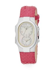Philip Stein Teslar Signature Mother Of Pearl Stainless Steel And Embossed Leather Strap Chronograph Watch Hot Pink